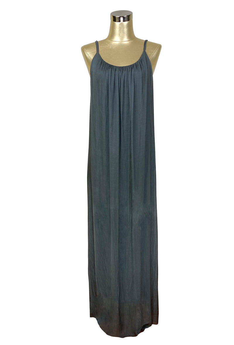 Vintage Style Crinkle Silk Chiffon Grecian Glamour Slip Dress - Dark Pewter - The Deco Haus