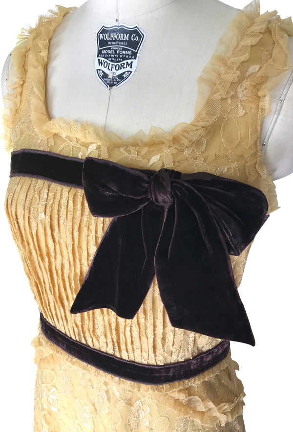Limited Edition Romantic 1920's Lace Velvet Bow English Tea Gown - Gold - The Deco Haus
