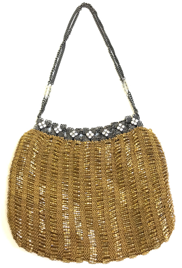 1920's Inspired Gatsby Beaded Rhinestone Crochet Evening Purse - Amber Gold - The Deco Haus