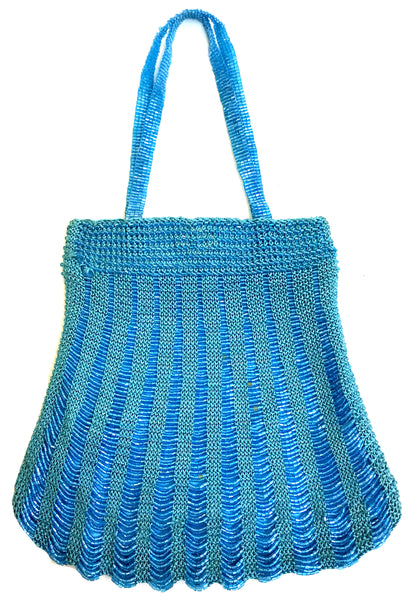 1920's Inspired Gatsby Beaded Scallop Crochet Evening Purse - Turquoise Blue