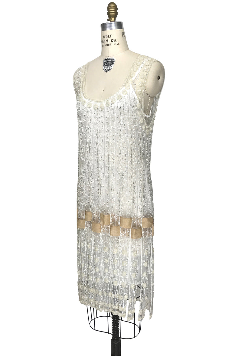 Vintage 1920s Art Deco Beaded Carwash Panel Dress - The Debutante - Crystal