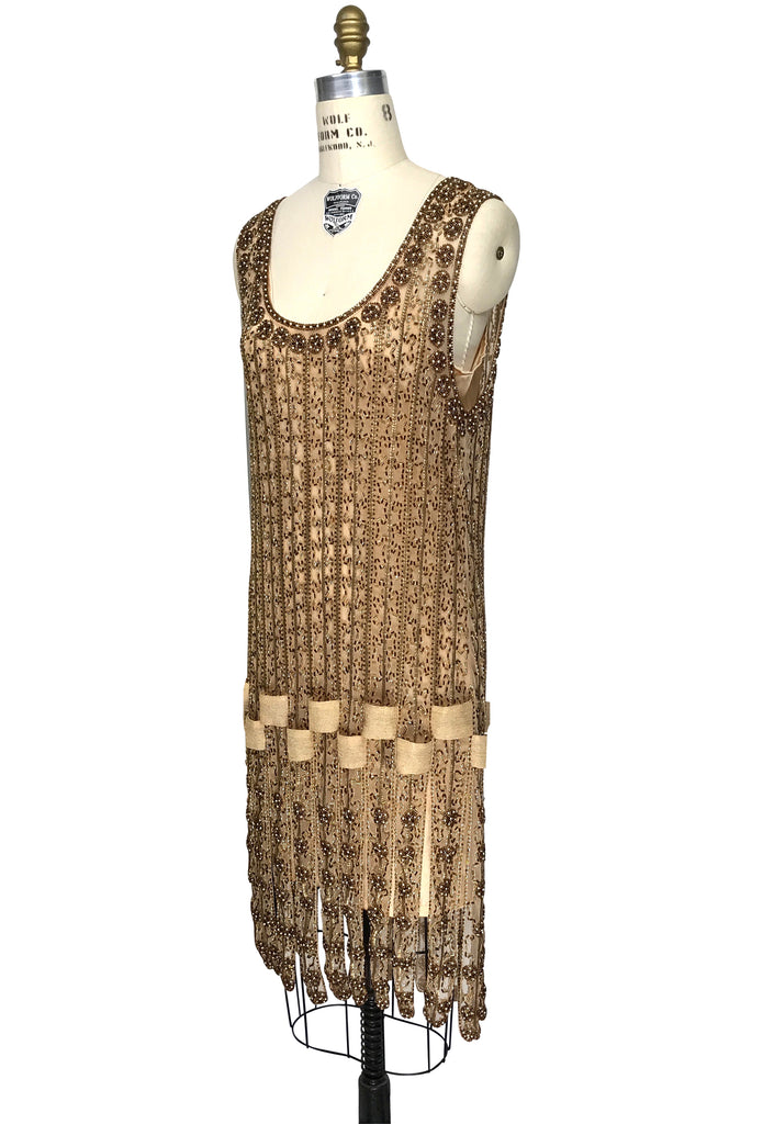 Vintage 1920s Art Deco Beaded Carwash Panel Dress - The Debutante - Gold