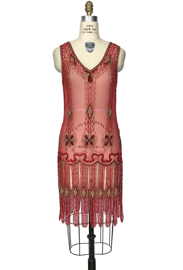Vintage 1920s Art Deco Beaded Carwash Panel Dress - The Duchess - Red Gold