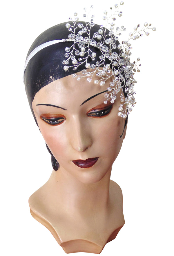Vintage 1920s Wedding Blossom Pearl Ribbon Bridal Headpiece - The Deco Haus