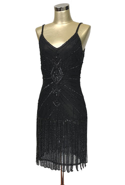 Vintage 20's Flapper Carwash Hem Party Dress - The Millicent - Black