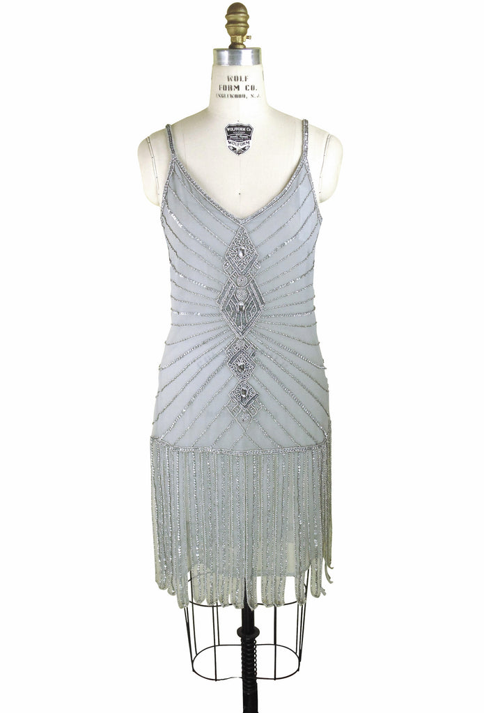 Vintage 20's Flapper Carwash Hem Party Dress - The Millicent - Pearl Grey - The Deco Haus