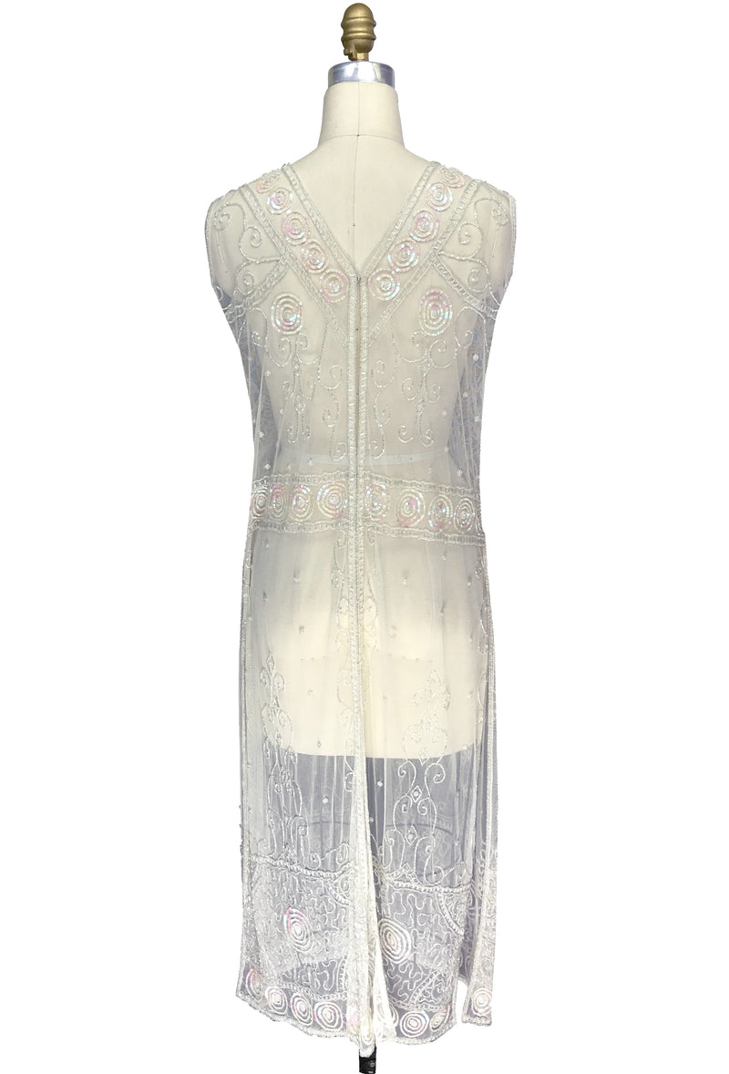 Antique Beaded Tabard Edwardian Hooked Panel Gown - The Viscountess - Ivory Iridescent - The Deco Haus