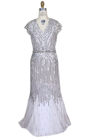 The 1930's Art Deco Belle Glamour Gown - Silver Sequin on Ivory Tulle