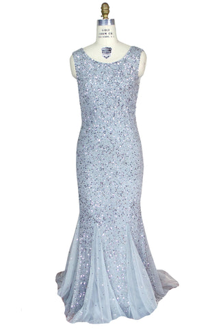 The 1930's Art Deco Goddess Mermaid Gown - Silver Sequin on Grey Tulle