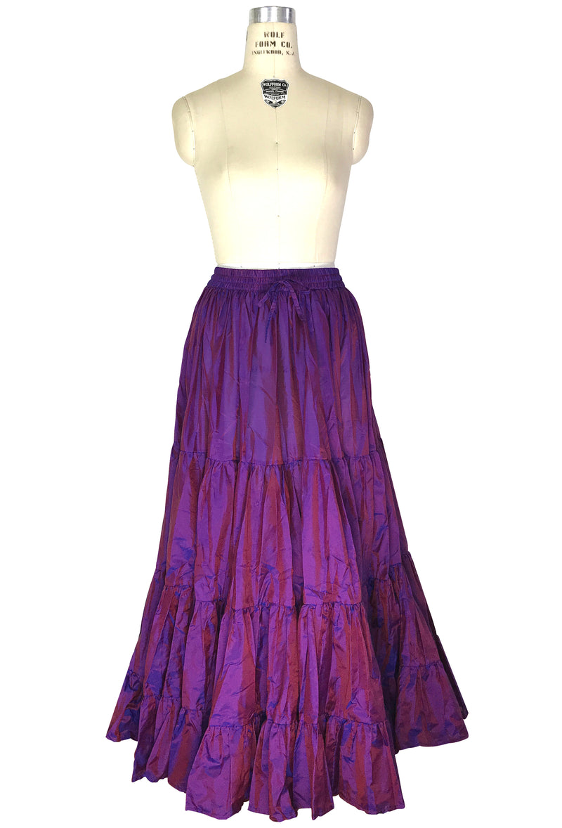 Vintage Spanish Flamenco 1920's Raw Silk Tiered Romance Skirt