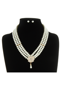 Vintage Flower Multi Pearl Gatsby Flapper Party Necklace Set