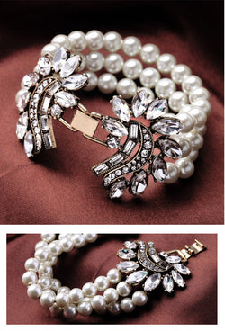 Vintage Hollywood Regency 50's Rhinestone Pearl Grace Kelly Bracelet