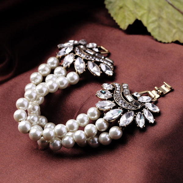 Vintage Hollywood Regency 50's Rhinestone Pearl Grace Kelly Bracelet - The Deco Haus
