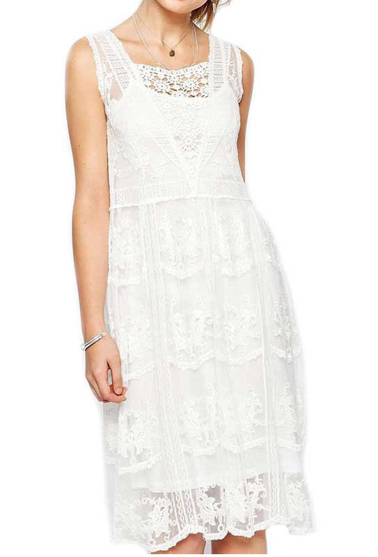 1920s Wedding Dresses- Art Deco Style Cream 1920s Inspired Vintage Multi Lace Overlay Florence Dress $87.95 AT vintagedancer.com