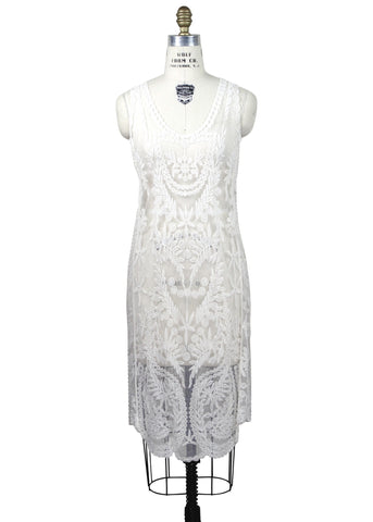 Cream 1920's Inspired Vintage Lace Column Slip Dress