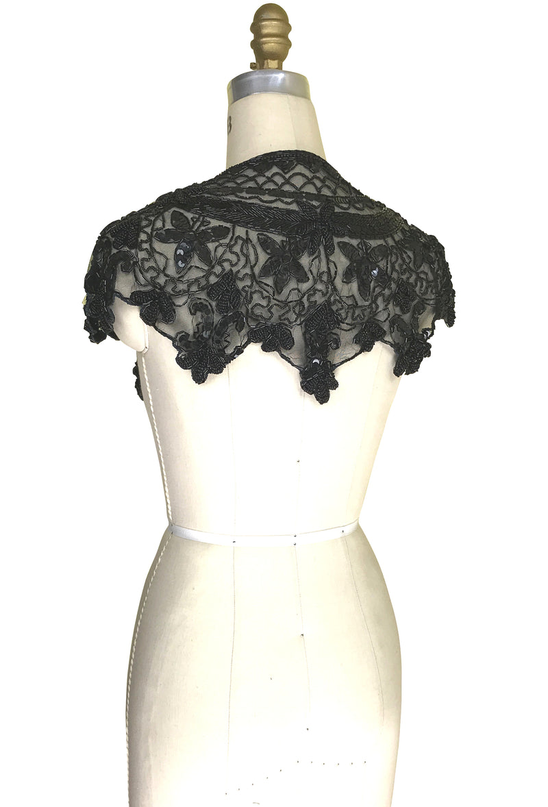 Vintage Luxe Hand Beaded Cutout Victorian Collar Capelet - Black Jet