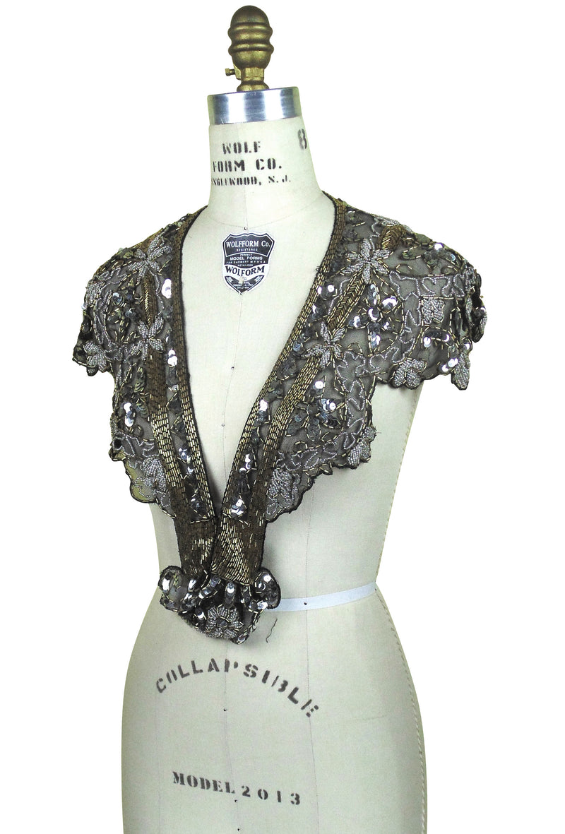 Vintage Luxe Hand Beaded Cutout Victorian Collar Capelet - Black Metallic - The Deco Haus