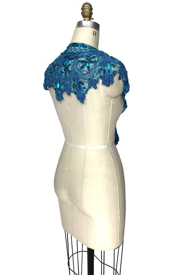Vintage Luxe Hand Beaded Cutout Victorian Collar Capelet - Cerulean Blue