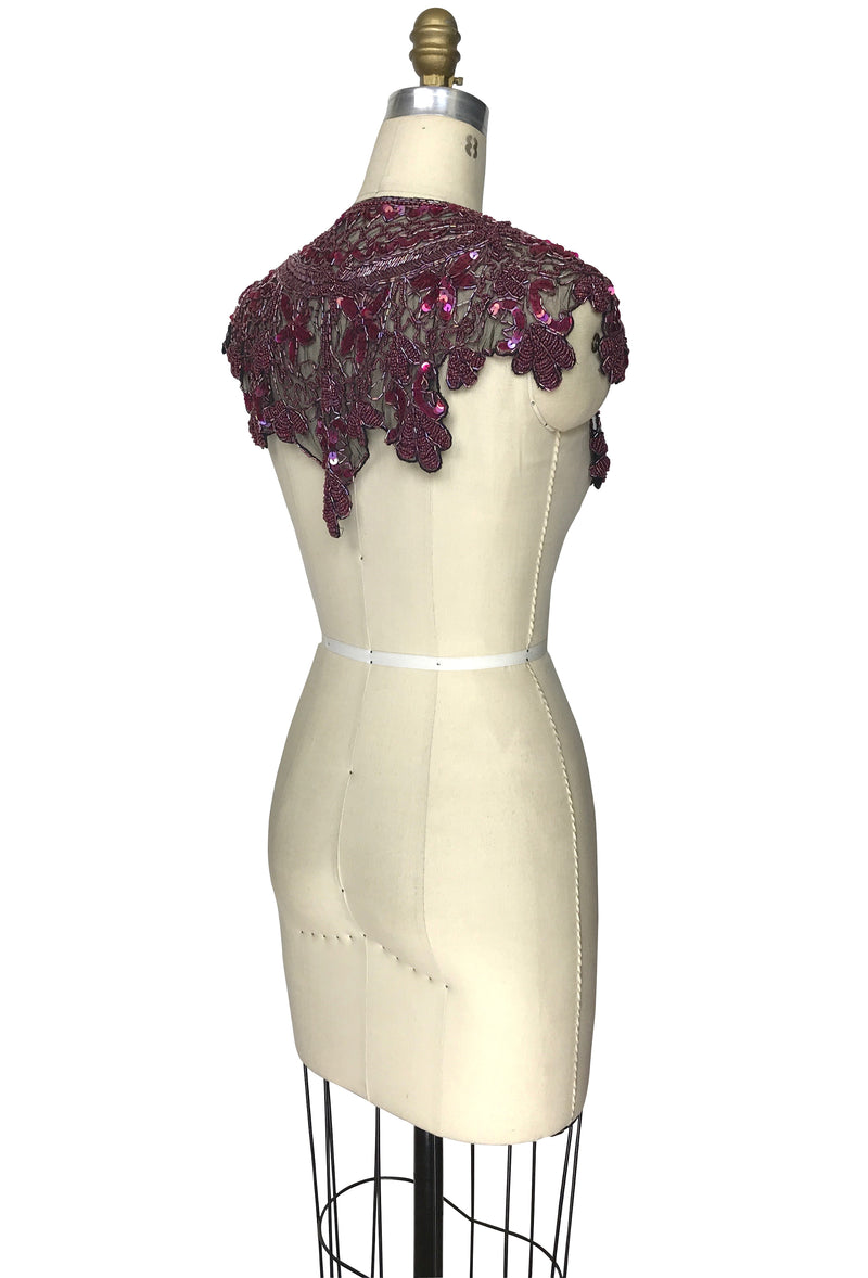Vintage Luxe Hand Beaded Cutout Victorian Collar Capelet - Electric Aubergine