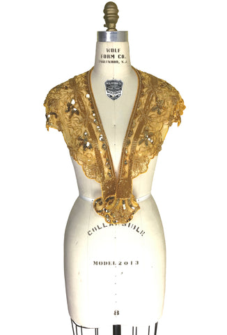 Vintage Luxe Hand Beaded Cutout Victorian Collar Capelet - Gold