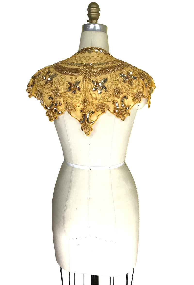 Vintage Luxe Hand Beaded Cutout Victorian Collar Capelet - Gold - The Deco Haus