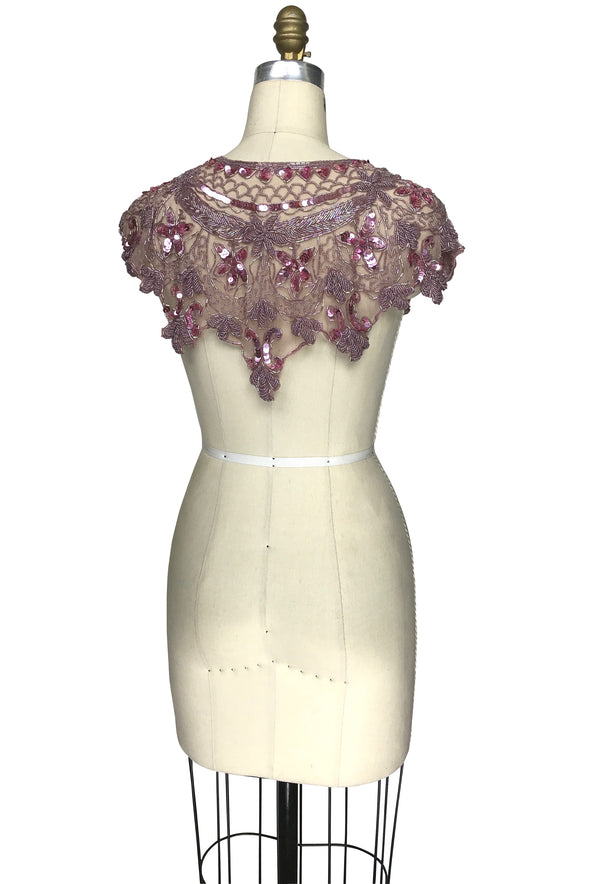 Vintage Luxe Hand Beaded Cutout Victorian Collar Capelet - Rose Mauve - The Deco Haus