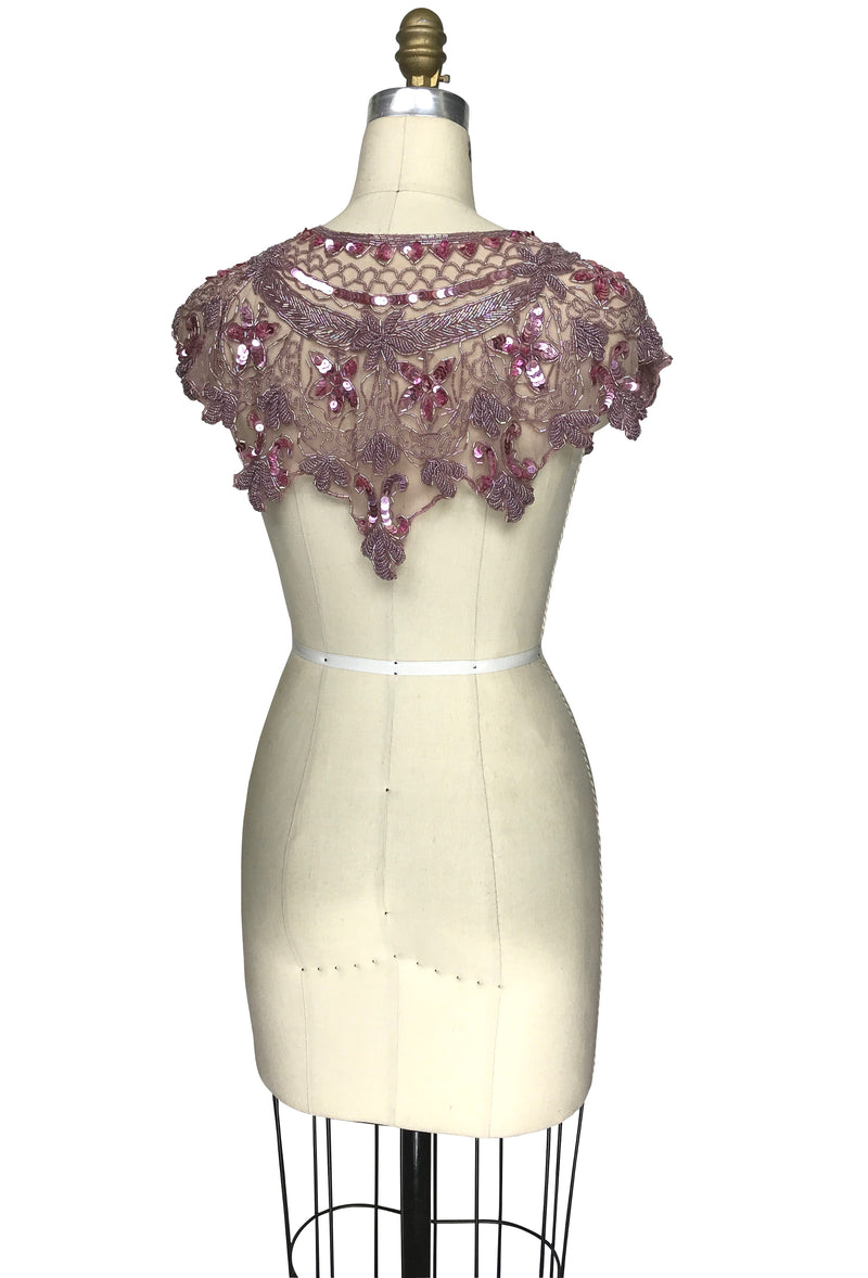 Vintage Luxe Hand Beaded Cutout Victorian Collar Capelet - Rose Mauve