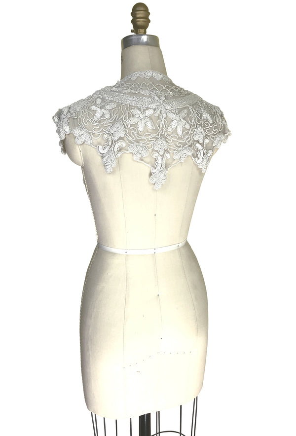Vintage Luxe Hand Beaded Cutout Victorian Collar Capelet - White