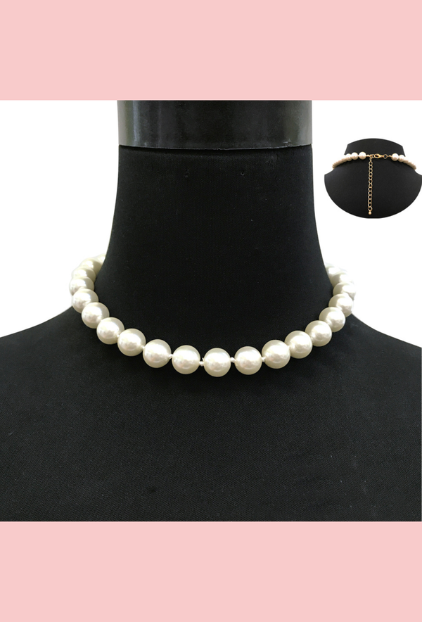 Vintage Pearl Rope Flapper Adjustable Party Choker Necklace