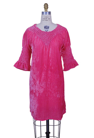 Romantic Renaissance Velvet Smocked Tunic - Electric Pink