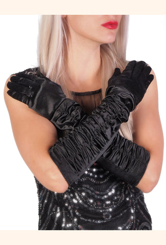 Vintage Style Satin Long Opera Ruched Evening Glove - Ebony Black - The Deco Haus