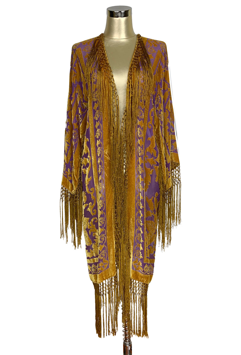 Vintage Silk Velvet 1920's Beaded Fringe Scarf Coat - Victorian Rose - Royal Purple Gold