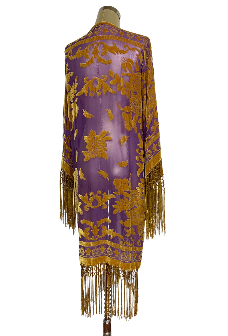 Vintage Silk Velvet 1920's Beaded Fringe Scarf Coat - Victorian Rose - Royal Purple Gold - The Deco Haus