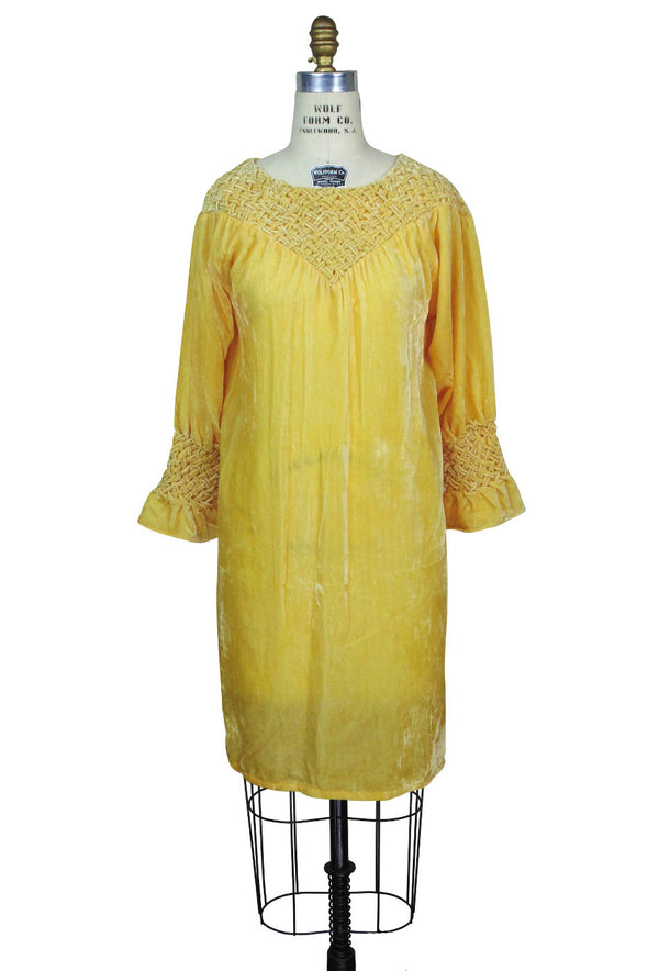 Romantic Renaissance Vintage Velvet Smocked Tunic - Butterscotch - The Deco Haus