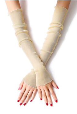 Vintage Style Sheer Glitter Nylon Mesh Fingerless Opera Evening Glove - Pale Gold - The Deco Haus
