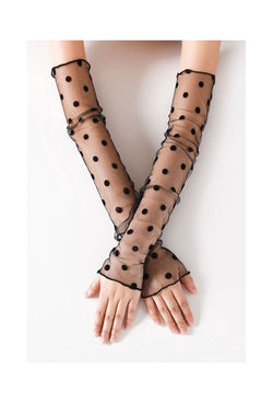 Vintage Style Sheer Nylon Mesh Fingerless Opera Evening Glove - Black Deco Dot