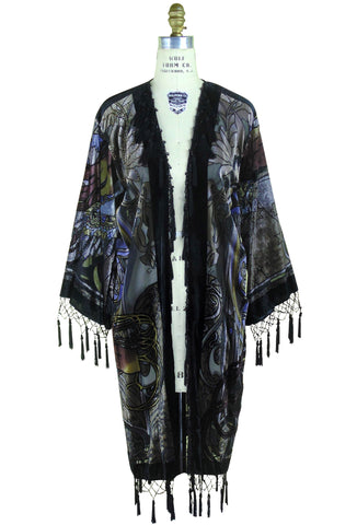 Vintage Velvet Art Nouveau Beaded Fringe Scarf Coat - Mucha Gypsy Fortuneteller - Black