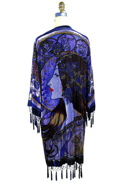 Vintage Velvet Art Nouveau Beaded Fringe Scarf Coat - Mucha Gypsy Fortuneteller - Cobalt Blue - The Deco Haus
