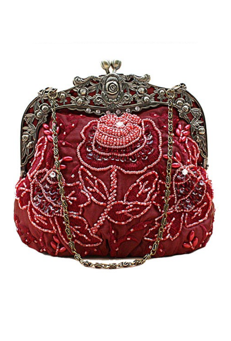 Vintage Victorian Beaded Satin Evening Purse - Burgundy Red