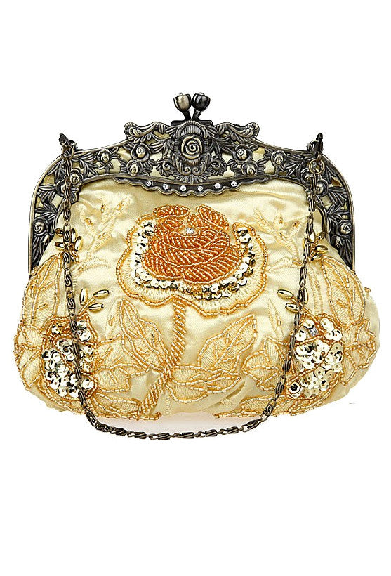 Vintage Victorian Beaded Satin Evening Purse - Gold