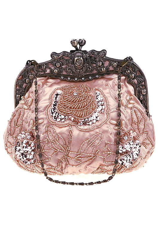 Vintage Victorian Beaded Satin Evening Purse - Rose Pink