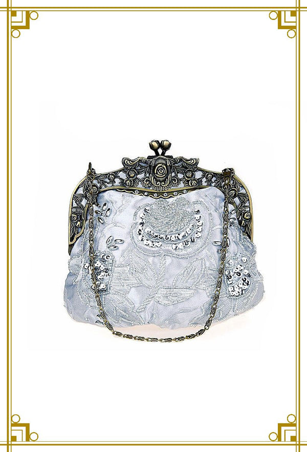 Vintage Victorian Beaded Satin Evening Purse - Light Silver - The Deco Haus