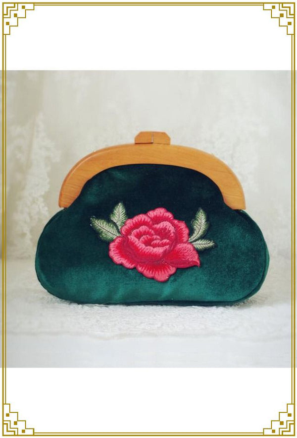 Vintage Victorian Embroidered Rose Romance Clutch Purse - Green Velvet - The Deco Haus