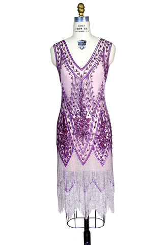 1920's Vintage Flapper Beaded Fringe Gatsby Gown - The Icon - Violet Pink - The Deco Haus