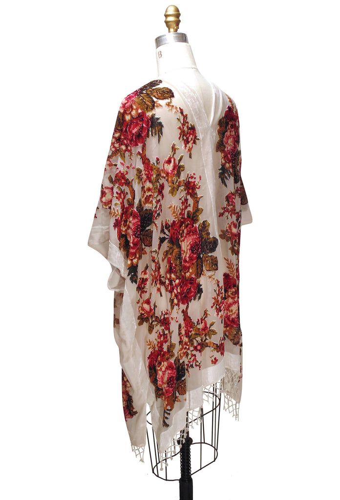 The Victorian English Rose Burnout Velvet Beaded Evening Wrap - White