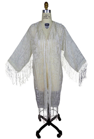 The 1930's Art Deco Scarf Coat - Wedding Ivory