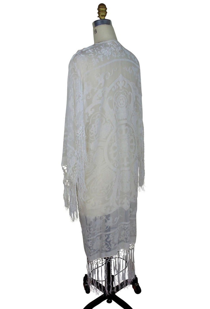 The 1930's Silk Velvet Art Deco Scarf Coat - Wedding Ivory - The Deco Haus