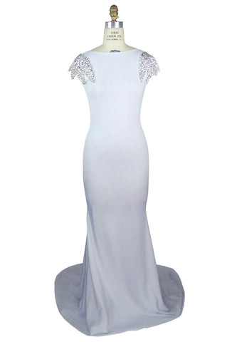 1930's Bias Sequin Backless Fishtail Lombard Gown - White