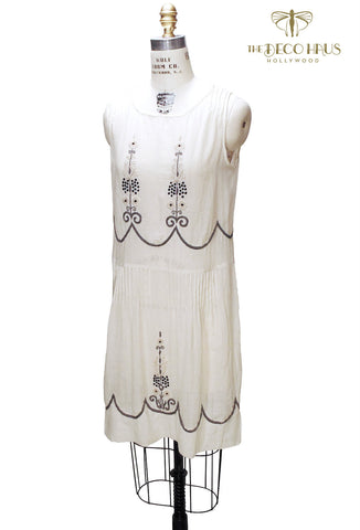 The Coco Embroidered 1920's Gauze Dress - White