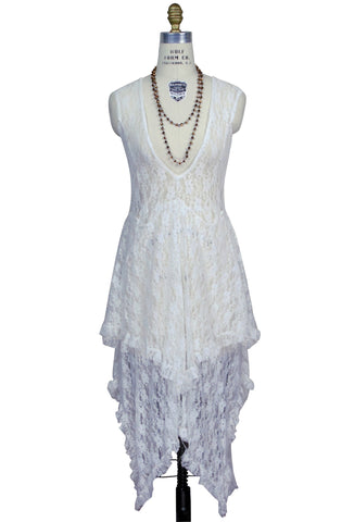Ultra Chic 30's Victoriana Lace Low Cut Handkerchief Dress - Ivory